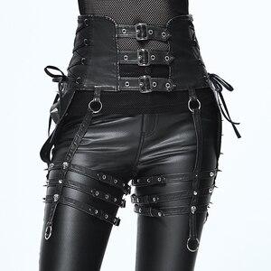 Image 1 - Ağır Punk kemer kişilik perçin pantolon seti bel kadın PU kemer aksesuarları için benzersiz tasarım siyah ince toka kemer kadın moda
