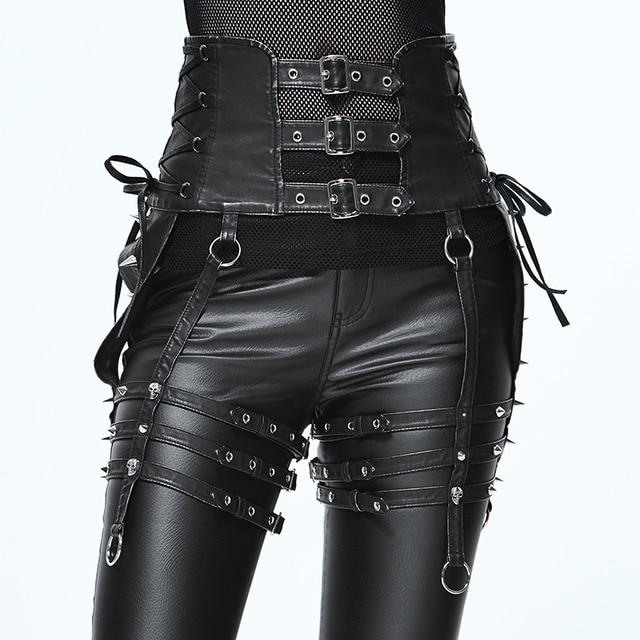 Ağır Punk kemer kişilik perçin pantolon seti bel kadın PU kemer aksesuarları için benzersiz tasarım siyah ince toka kemer kadın moda