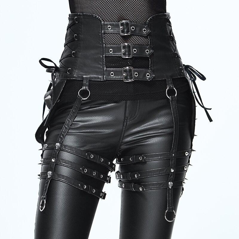 Personnalité Punk lourde Rivet pantalon ensemble taille femmes PU ceinture accessoires conception Unique noir mince boucle ceinture dames mode