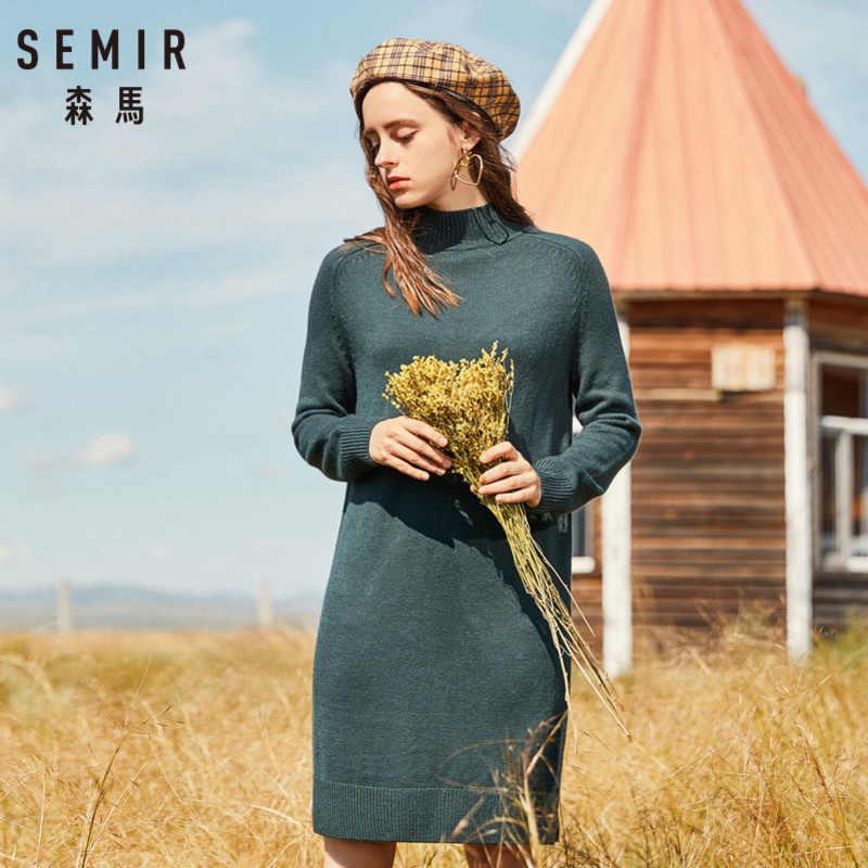 SEMIR Nữ Len-Pha Chế Giễu-Áo Len Cao Cổ Áo Thắt Nơ Xẻ Nữ Nơ Đầm Dài Tay Raglan Lọt Khe tại HEM
