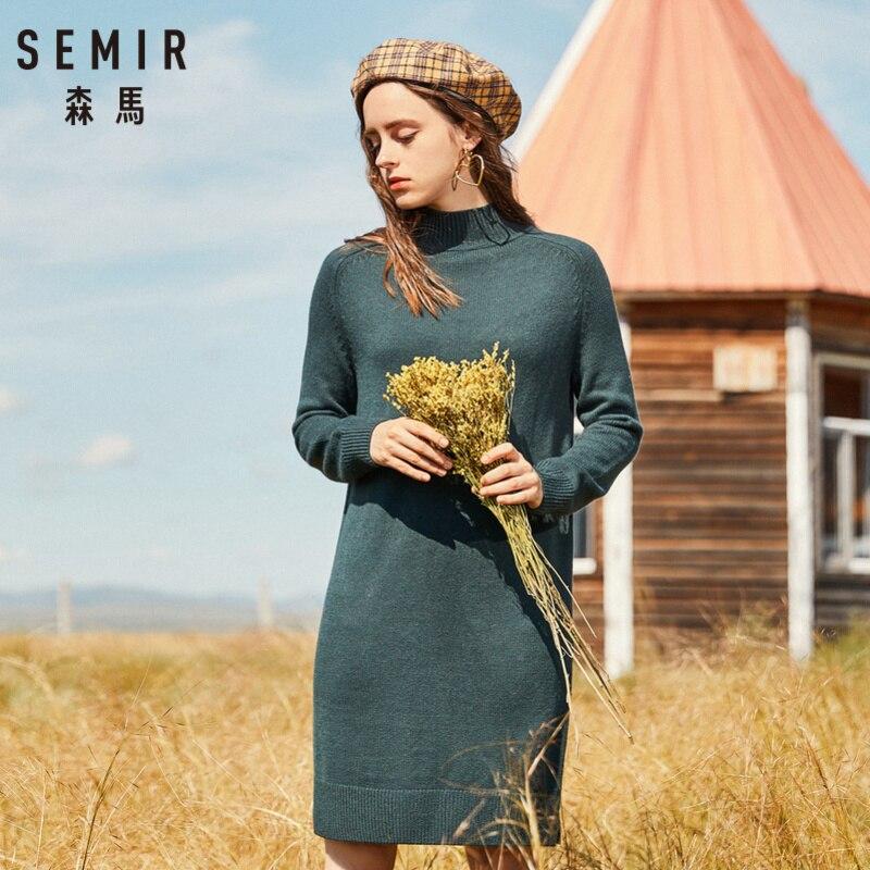 1b9e75e8e2 SEMIR Women Wool-Blend Mock-Turtleneck Sweater Dress Rib Knit Women Ribbed  Dress with