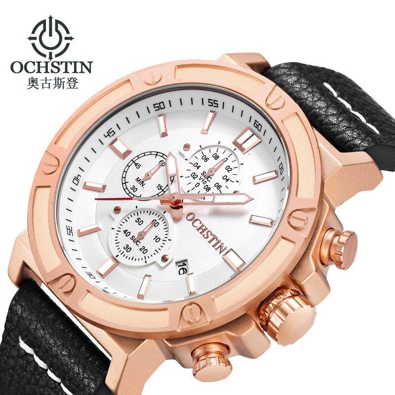 Quartz Watch Big Case Multifunction Dials Chronograph Calendar Lumnious Waterproof Sports Watch Leather Strap Business Watch Men