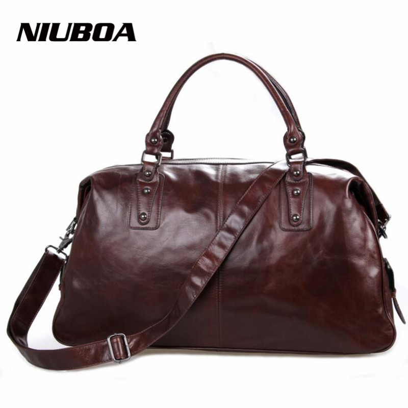 NIUBOA Men Bag Genuine Leather Travel Bag Crossbody Mens Big Travel Shoulder Bags Tote Laptop Cowhide Briefcases Handbags