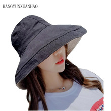 HANGYUNXUANHAO New Bucket Hats Cotton Winter Hat For Women Solid Color Fisherman Casual Double Side Sunproof Cap