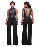 2017 New Women Bodysuit Rompers Womens Jumpsuit Sleeveless Sexy Hollow Out Bodycon Jumpsuits American Apparel