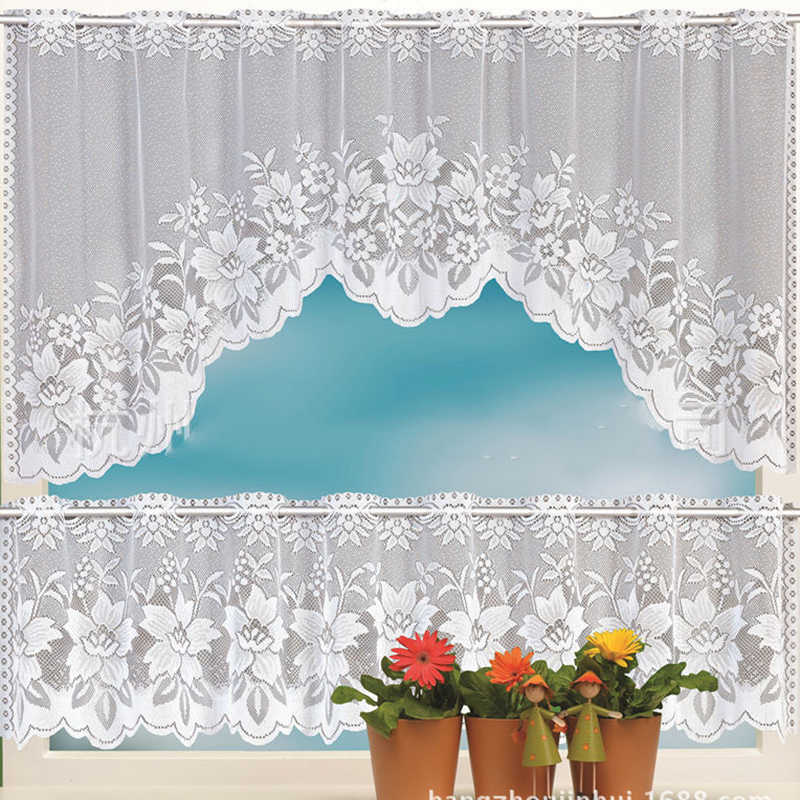 European White Lace Sheer Curtains for Kitchen Valance Window Tulle Curtains Coffee Dividers Door Curtain Bedroom Roman Blinds