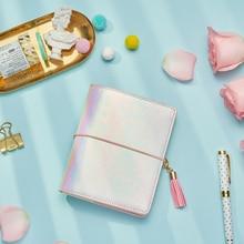 Lovedoki nuevo cuaderno de colores de fantasía láser A7 6 agujeros planificador en espiral con cartera grande diario portátil Personal niñas papelería