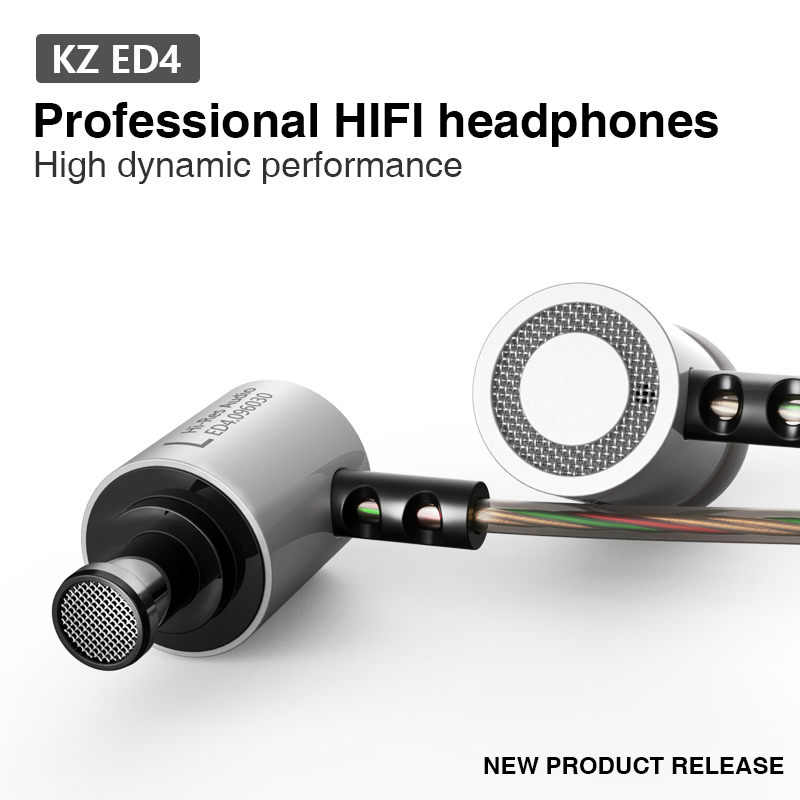 KZ ED4 Metal Stereo Earphone In ear Earphones HiFi Bass Earbud Noise Isolating Earphones for Mobile Phone MP3 MP4 image