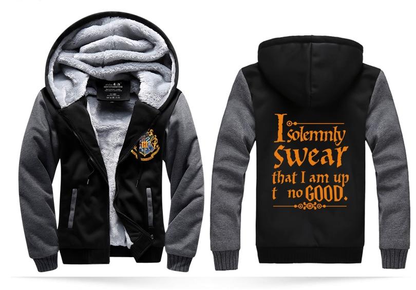 men's coats I Solemnly Swear That I Am Up No Good jacket men 2017 winter zippter fleece sweatshirt casual warm hoodies