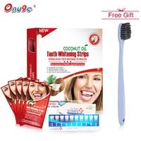 Onuge 14 Paris Dầu Dừa Teeth Whitening Strips Chuyên Nghiệp Tiên Tiến Non-slip Nha Khoa Strips Tẩy Trắng Răng Công Cụ + Bàn Chải Đánh Răng