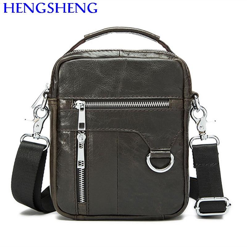 все цены на Hengsheng hot selling genuine leather men bag with top quality cow leather men shoulder bags and leather gentlemen messenger bag