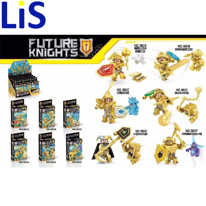 Lis 6pcs/lot Dragon New Golden Nexo Knights Future Shield Building Blocks Castle Warrior Nexus Kids Toys Gift