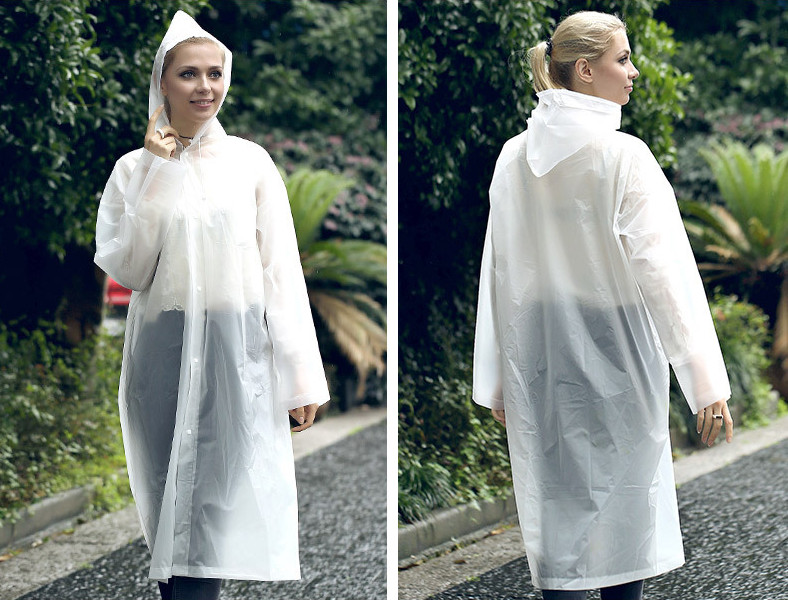 16.Fashion EVA Women Raincoat Thickened Waterproof Rain Coat Women Clear Transparent Camping Waterproof Rainwear Suit Rain jacket_