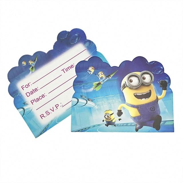 10pcs Kids Birthday Party Decoration Cartoon Minions Theme Birthday Invitation Card Baby Shower Decoration Baptism Gift In Cards Invitations From
