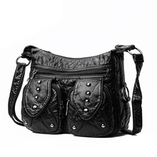 Soft PU Leather Shoulder Bag Solid Black Rivet Vintage Bag European and American style Messenger Bag for Women Cute Package цены