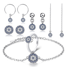 Turkish retro devils evil eye earrings long lucky blue clear CZ crystal line for women wedding jewelry brincos D40