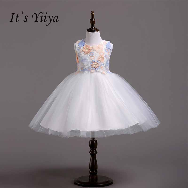 It's yiiya Bow Zipper Flower Girl Dress Many Color Kid Child Clothing Flowers Ball Gown Dress For Party Wedding Girl Dress S221