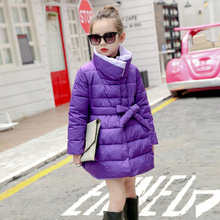 Children In The Long Section of 2017 Cotton Padded Girls Girls Winter Korean Version of The New Child Feather Padded Coat