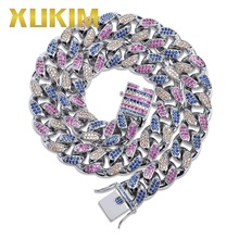 Xukim Jewelry 18mm Micro Pave Colorul Cubic Zirconia Miami Cuban Link Chain Full Iced Out Rapper Rock Hip Hop Jewelry Necklace men women hip hop miami cuban link fully cz chain necklace copper casting micro cubic zirconia clasp iced out bling jewelry