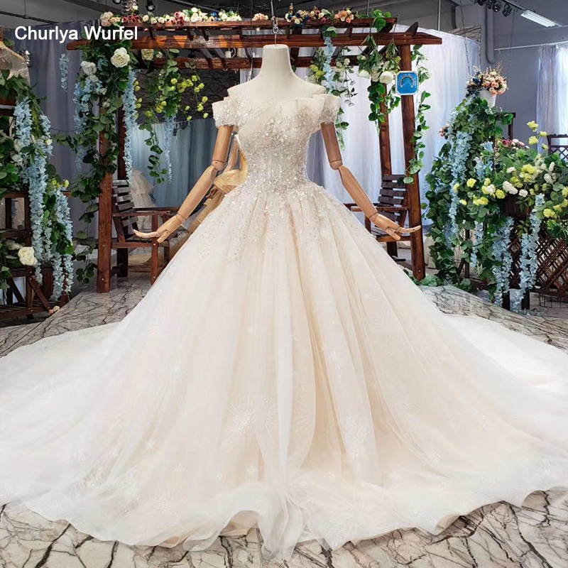 HTL580 light champagne luxury wedding dresses beading crystal off the shoulder princess wedding gown 2019 vestido para casamento