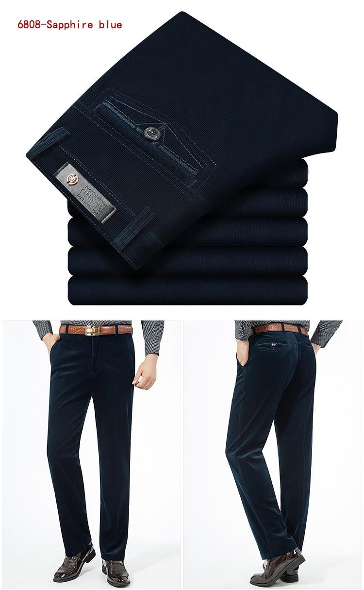 HTB1Ik4RKr1YBuNjSszeq6yblFXa8 Autumn Spring corduroy trousers men's leisure pants high waist straight middle-aged wash and wear business casual corduroy pants