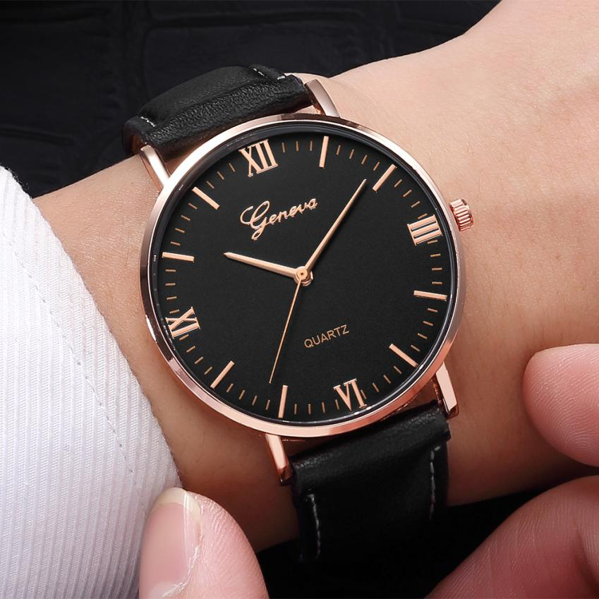 2018 Reloj Fashion Large Dial Military Quartz Men Watch Leather Sport Watches Classic Clock Wristwatch Relogio Masculino #D(China)