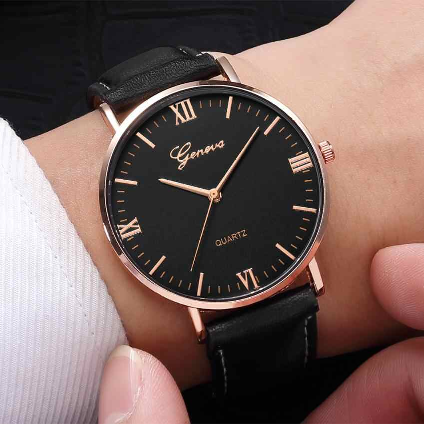 2018 Reloj Fashion Large Dial Military Quartz Men Watch Leather Sport Watches Classic Clock Wristwatch Relogio Masculino #D