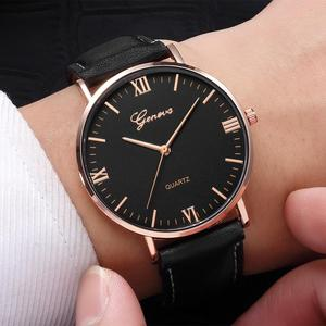 2018 Reloj Fashion Large Dial Military Quartz Men Watch Leather Sport Watches Classic Clock Wristwatch Relogio Masculino #D(China)