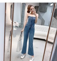 2019 Women Sexy Off Shoulder Denim Long Romper Fashion Sleeveless Jumpsuit Summer Vocation Wide Leg Playsuits