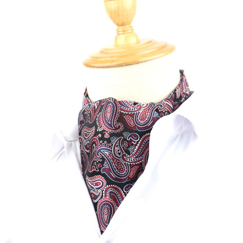 Fashion Cravat Ascot For Men Polyester Floral Pattern Cravat Ties Gentlemen Selft Tie For Wedding Ascot Blue Neckwear Neckties