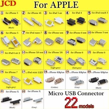 Jcd novo micro conector usb dc power jack para iphone 4 4S 5 6 7 8 plus x porto de carregamento tomada fêmea micro conector usb plugue