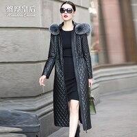 2016 Winter Jacket Women genuine leather clothing women's long slim design sheepskin clip Jackets cotton padded coat Outerwear