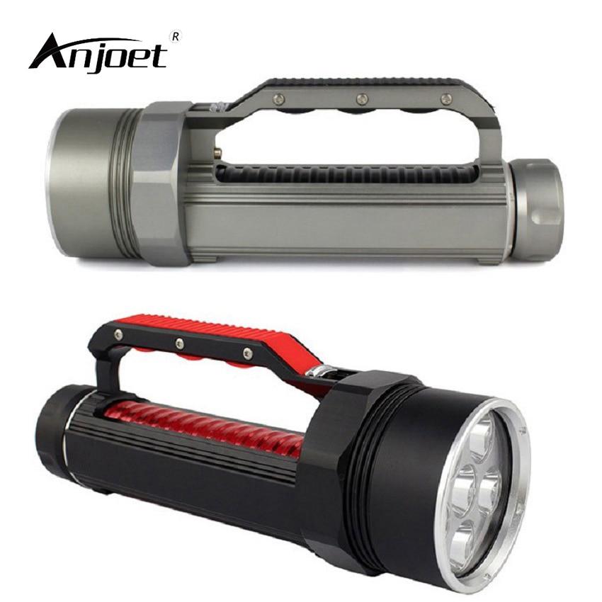 ANJOET Portable lighting Super bright Lantern Silver/Black Underwater Flashlight 6000LM 6*XM L2 LED Waterproof Diving lamp