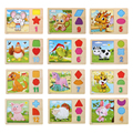 Wooden Chinese Zodiac Design 3D Puzzle Jigsaw Cute Cartoon Animal Tangram Puzzle Kids Educational Learning Toy K5BO
