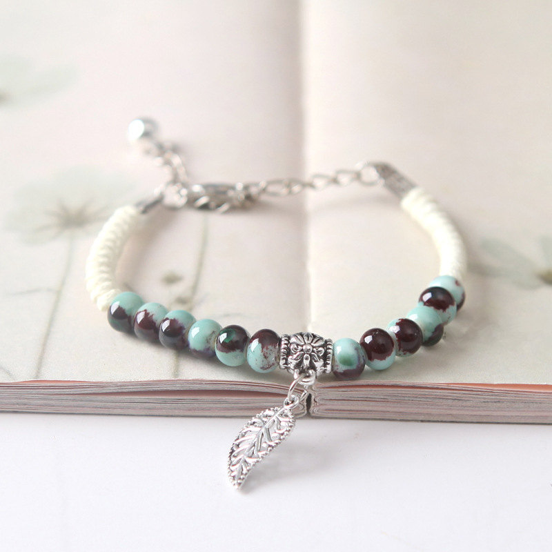 8SEASONS Handmade Chinese Style Bracelets White Braided Rope Ceramics Beads Dull Silver Color Leaf Pendants Ethnic, 1 Piece