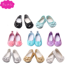Doll sequined shoes bow princess 7 colors fit 18-inch girl dolls and 43-cm baby shoe accessories s19-s155