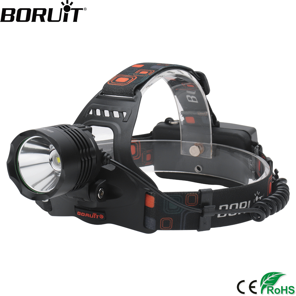 BORUiT RJ-2158 XM-L2 LED Headlamp 3000LM 5-Mode Headlight Rechargeable 18650 PowerBank Waterproof Head Torch for Camping Hunting