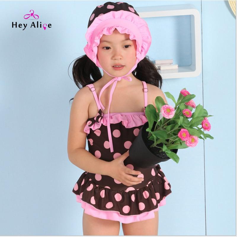 eea97132fe7fc Heyelice Children Girls Swimsuit Vintage Dot One Piece Swimwear With Cap  Lovely Baby Girl Sportwear Swim Suit Beach Bathing Suit-in Children's  One-Piece ...