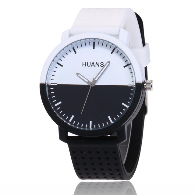 3a1869356 2018 New Fashion black and white silicone watch Men Women Lovers Dress  Quartz Wrist Watch Relogio Feminino