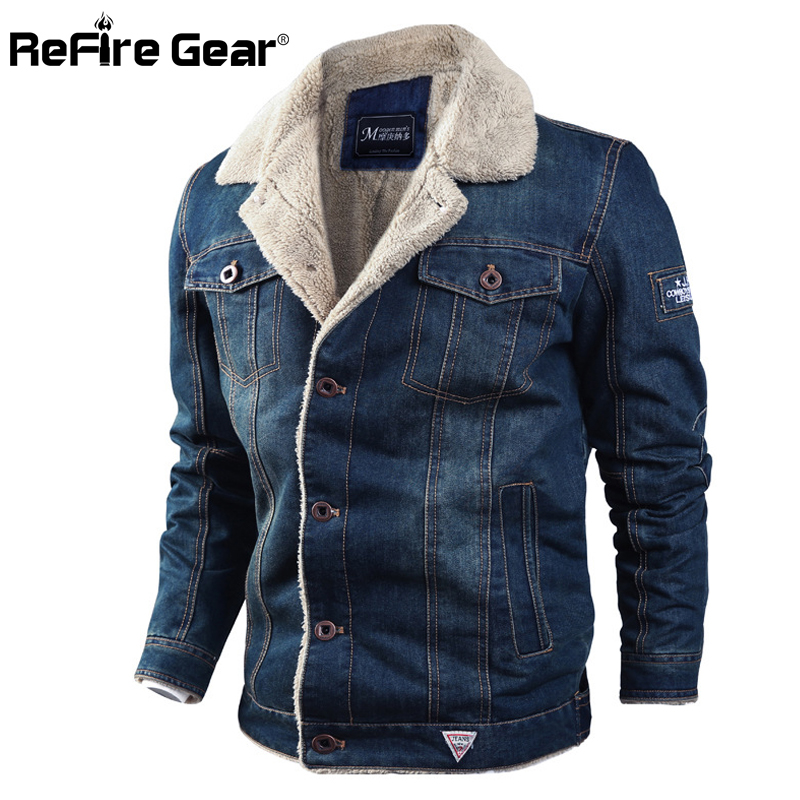 Refire Gear New Winter Heat Denim Jacket Males Thick Army Parkas Coat Informal Fur Collar Bomber Denims Jacket Wool Liner Outwear