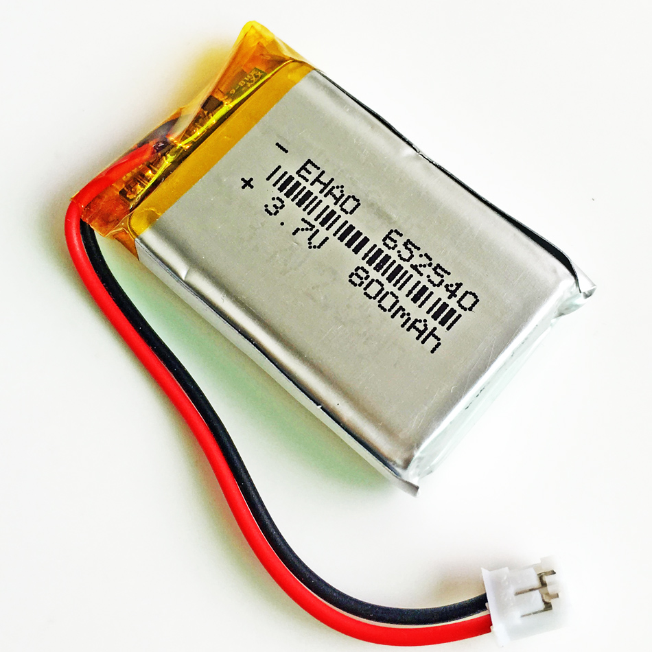 3.7V 800mAh JST PH 2.0mm 2pin 652540 Lithium Polymer Li Po