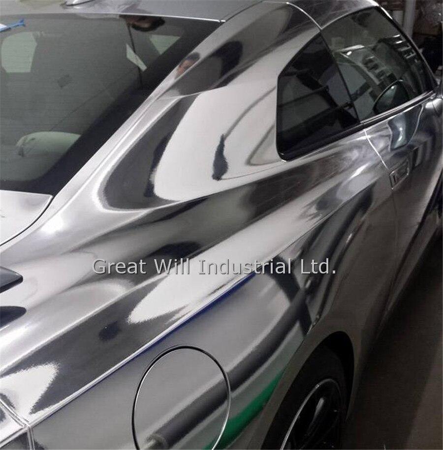 Блестящая Гибкая Серебристая хромированная Виниловая пленка для растягивающейся хромированной серебристой автомобильной обёртки, пленка для удаления воздуха 1,52*20 м
