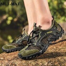 2019 dos homens de verão respirável caminhadas sapatos masculino recorte sapatos movimento ao ar livre lazer sandálias malha respirável sapatos