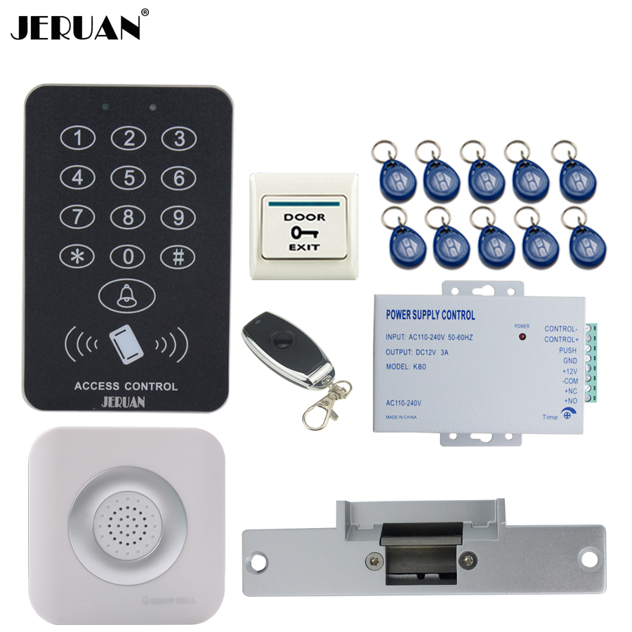 JERUAN RFID Access Controller Door control system kit +Remote control + Exit Button +10 ID Keys +Doorbell +Electric Strike lock rfid door access control system kit set with electric lock power supply doorbell door exit button 10 keys id card reader keypad