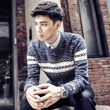Men's spring and autumn and Winter o-neck sweater male stripe pullover sweater male sweater outerwear