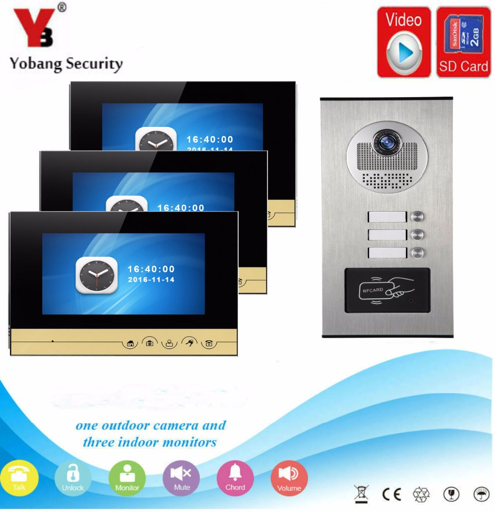 YobangSecurity Video Door Phone 7 inch Wired Doorbell Camera Intercom System RFID Access With Recording function for 3 Apartment yobangsecurity 7 inch wire video door phone doorbell intercom system waterproof outdoor camera with raincover intercom system