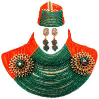 Fashion 25 Layers Orange and Army Green Teal Green African Necklace Crystal Nigerian Wedding Beads Jewelry Set 25R20