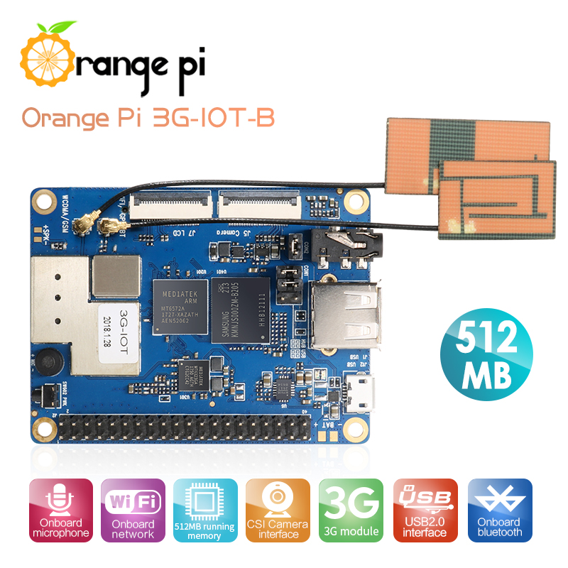 Orange Pi 3G-IOT-B 512MB Cortex-A7 4GB EMMC Support 3G SIM Card Bluetooth Android4.4 mini PC Звуковая карта