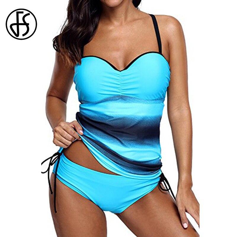 5c57ba6e25 FS Hot Bandeau Bikini Push Up Long Tankini Swimsuit Women Plus Size Swimwear  Ladies Pleat Sport