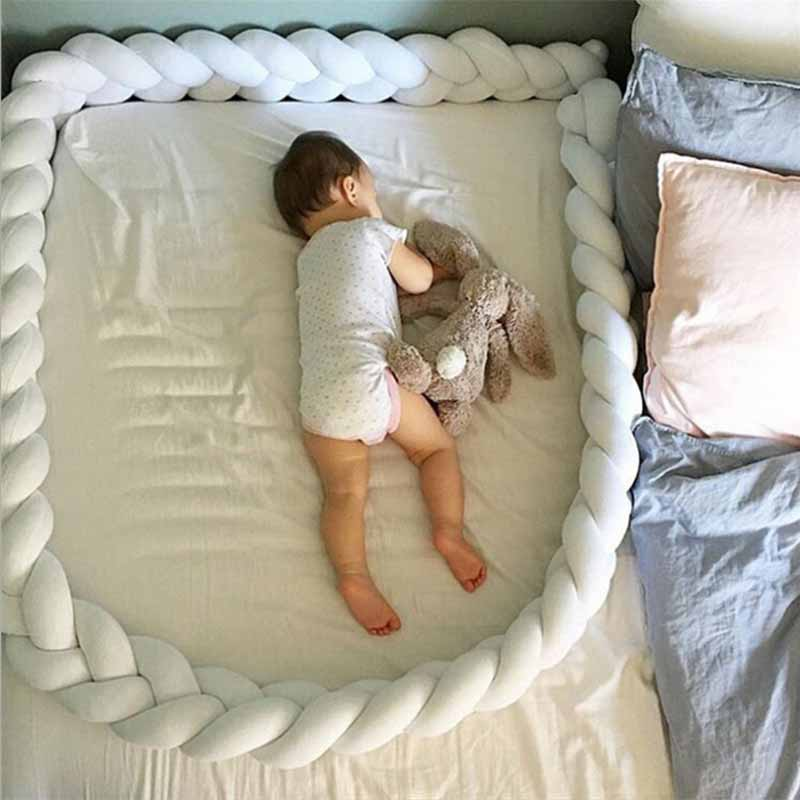 2M3M length Nordic knot newborn bumper long knotted woven pillow crib bumper in crib baby room